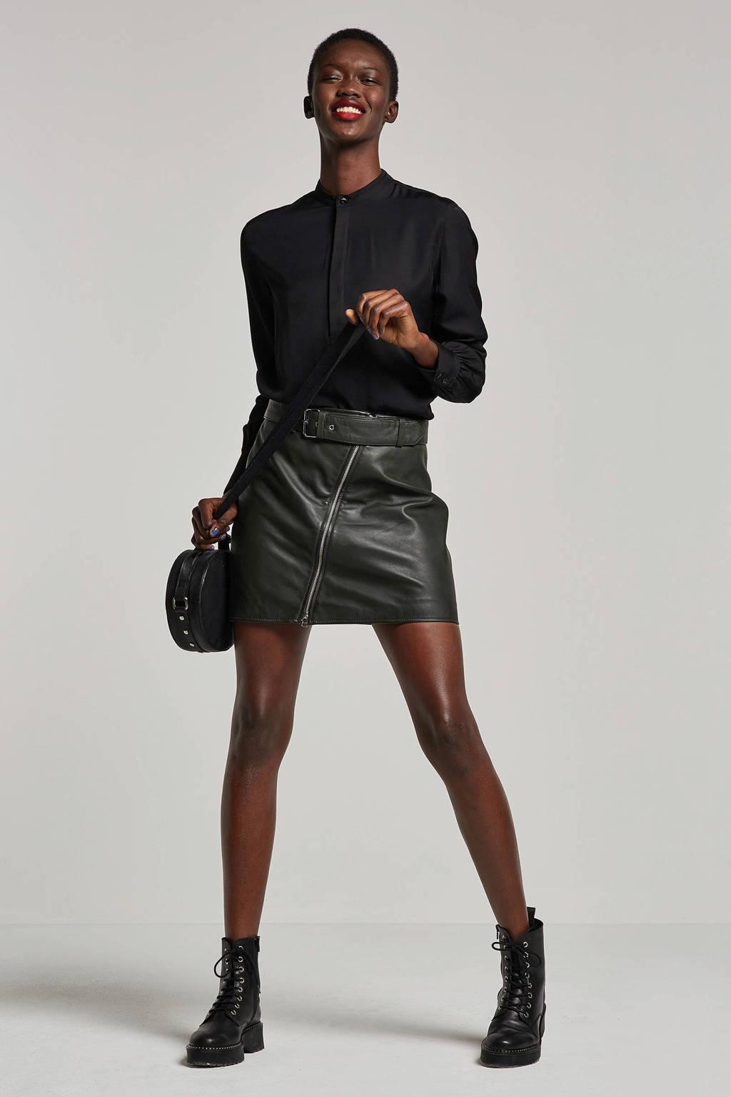 Goosecraft leren rok zwart, Zwart