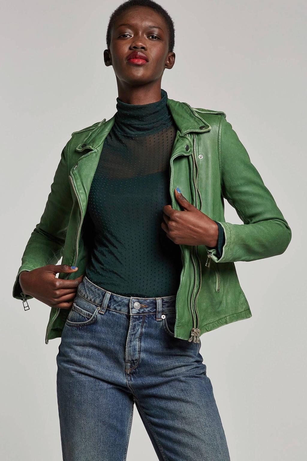 Goosecraft leren jas groen, Groen