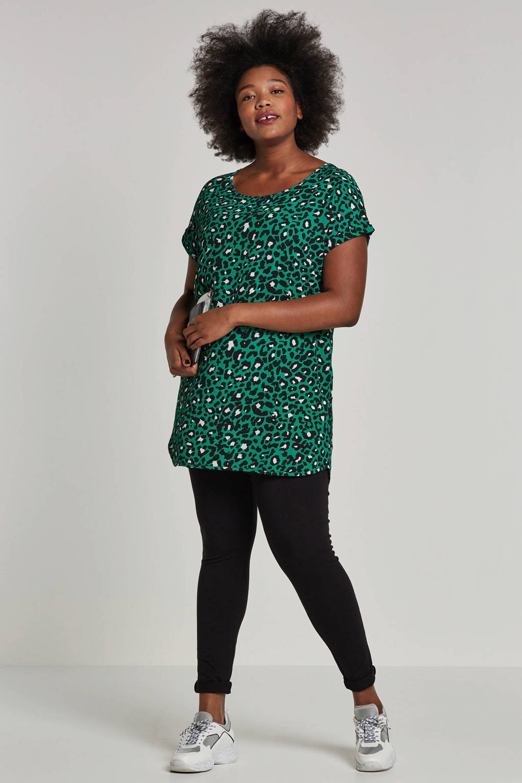 whkmp's great looks gerecycled polyester tuniek met panterprint, Groen/zwart/ecru