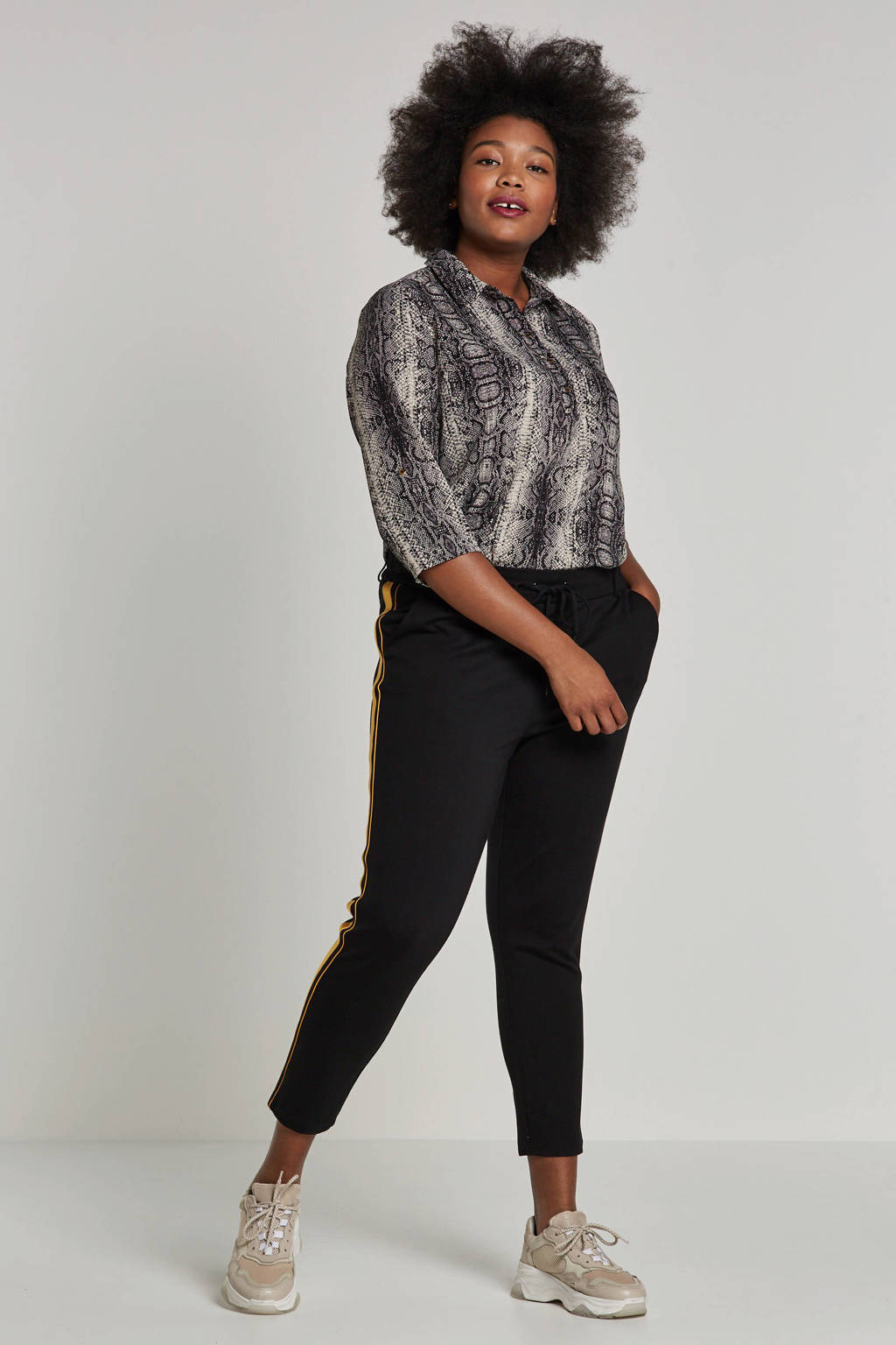 whkmp's great looks tuniek met slangenprint, Zwart/beige