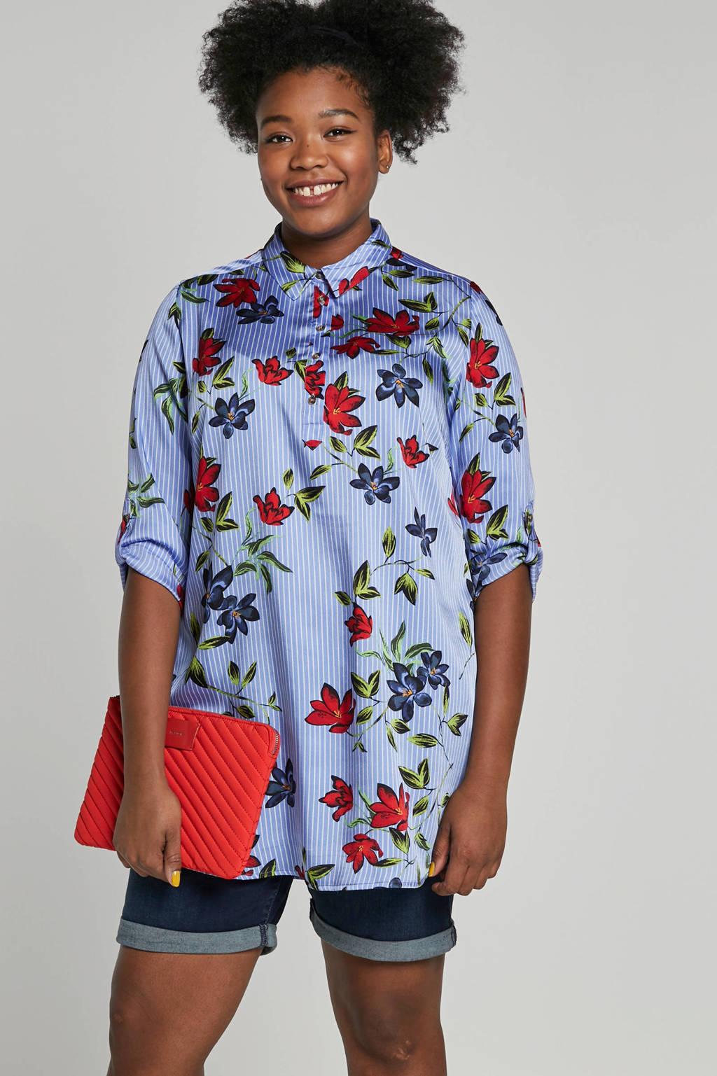 whkmp's great looks tuniek met streep- en bloemenprint, Blauw/wit/rood