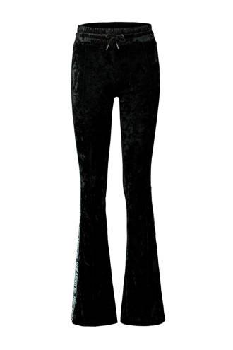 fluwelen flared broek zwart