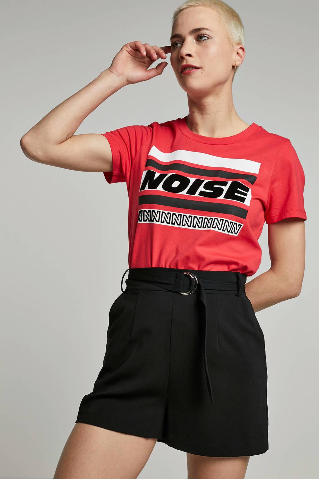 NIKKIE T-shirt rood met opdruk, Rood/wit/zwart