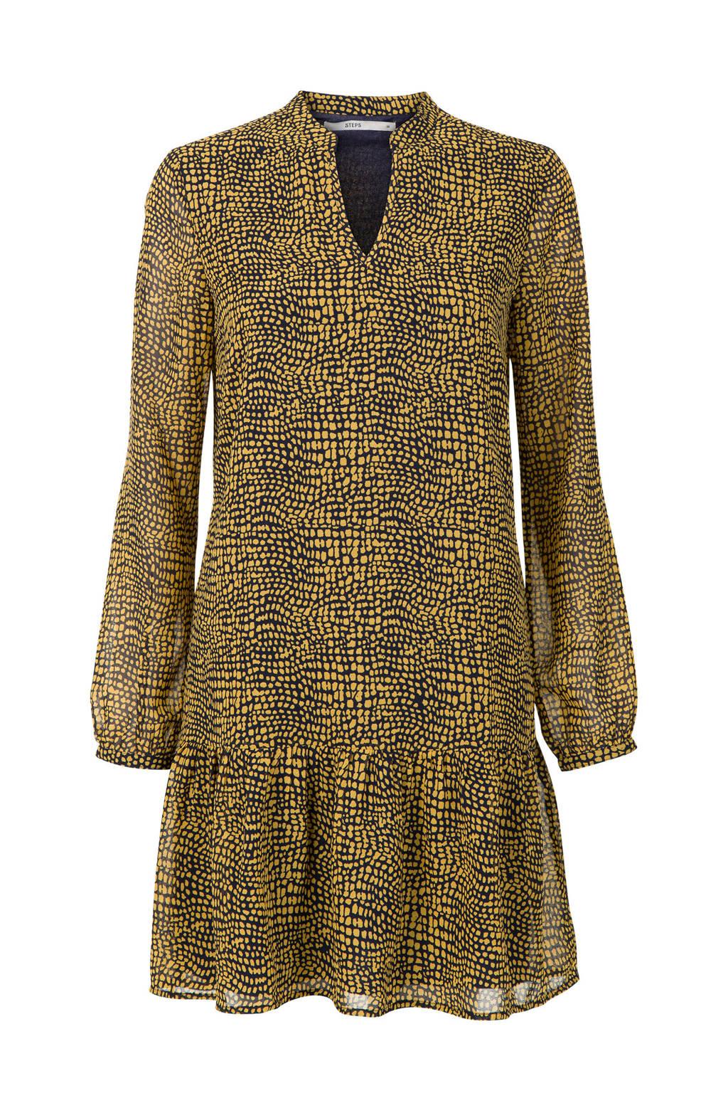 Steps jurk met allover print geel/donkerblauw, Donkerblauw