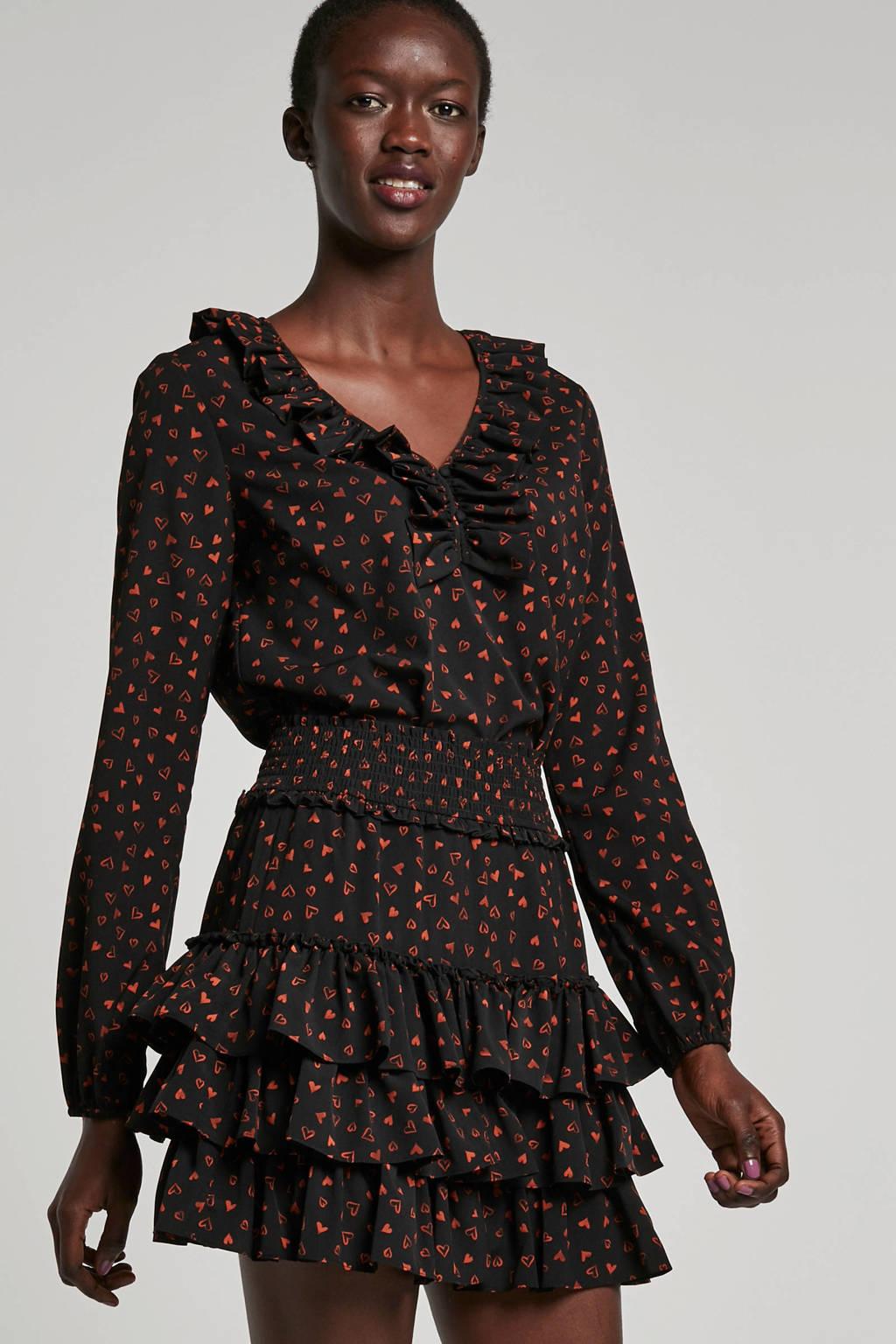 NIKKIE rok met hartjes, Zwart/bruin