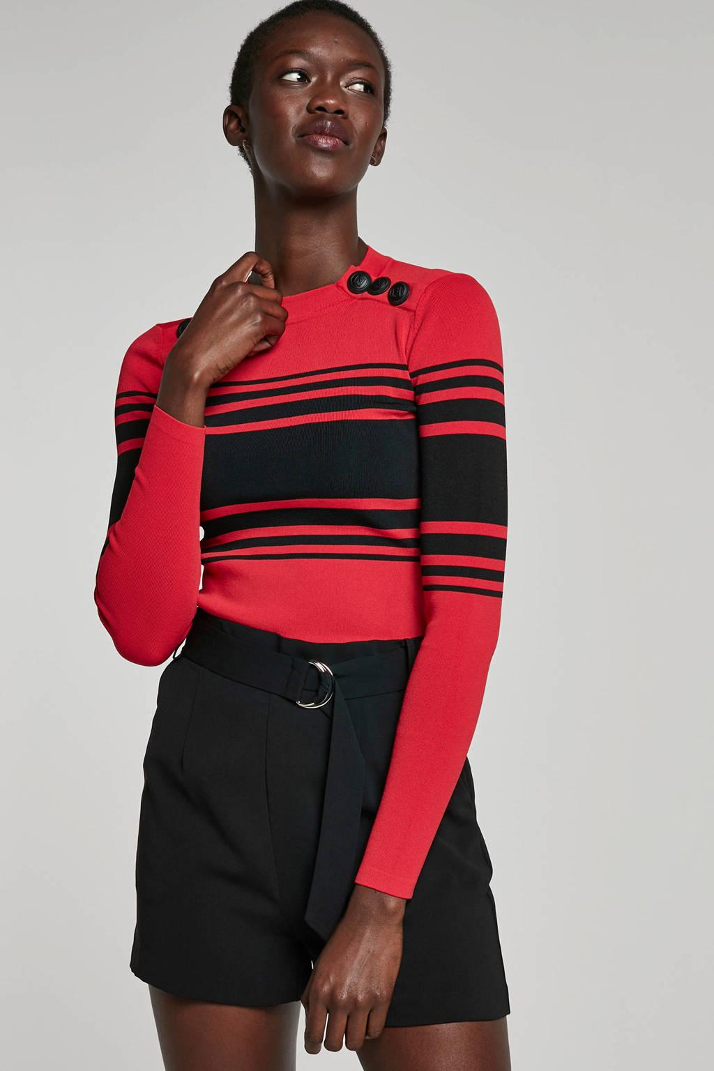 NIKKIE top met knopen rood, Rood/zwart