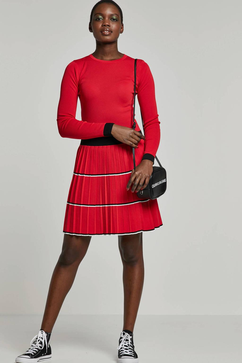 NIKKIE jurk met volant, Rood/zwart/wit