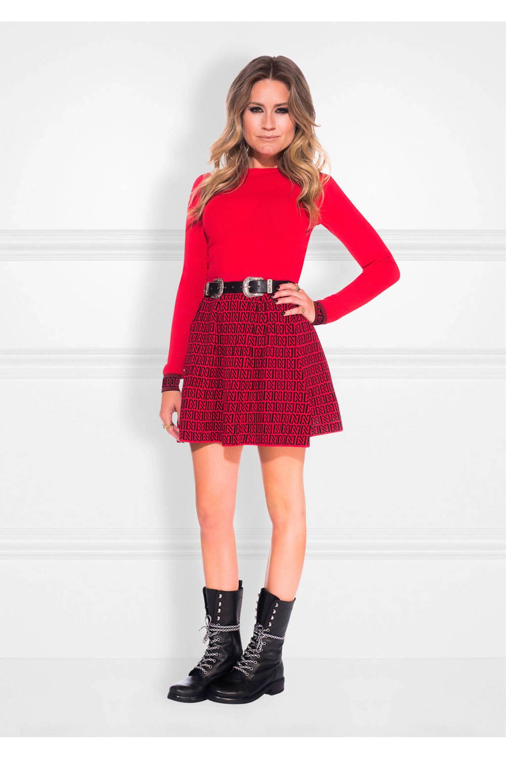 NIKKIE rok met logo rood/ zwart