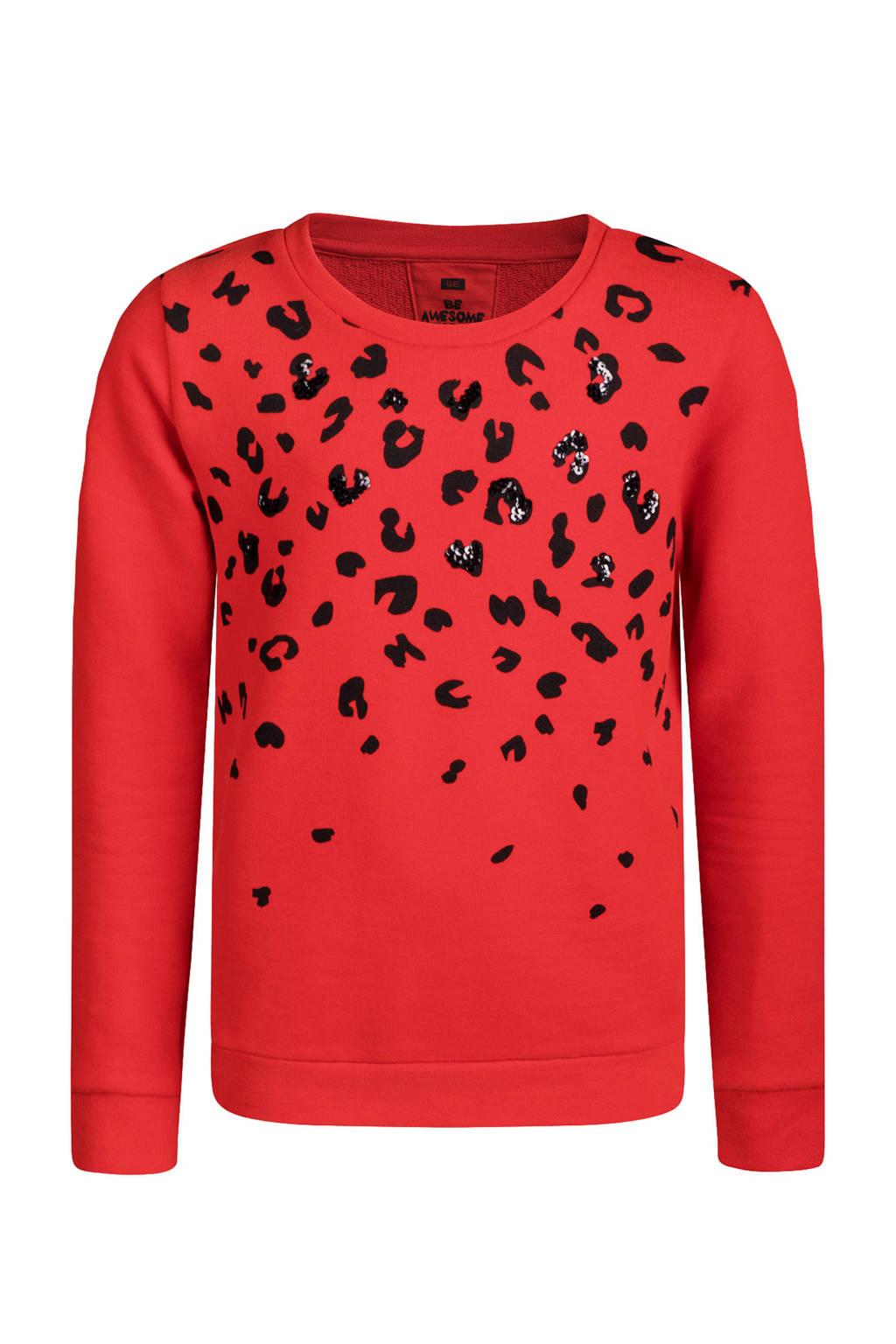 WE Fashion sweater met panterprint rood, Rood
