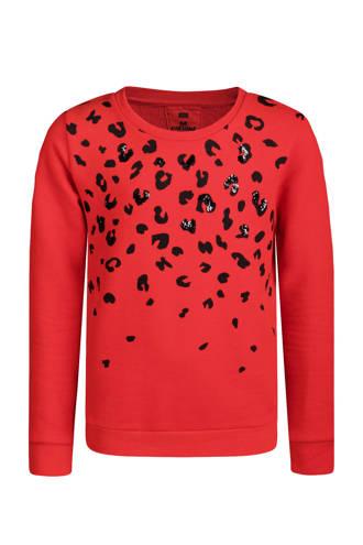 sweater met panterprint rood