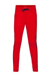 WE Fashion sweatpants met zijstreep rood (meisjes)