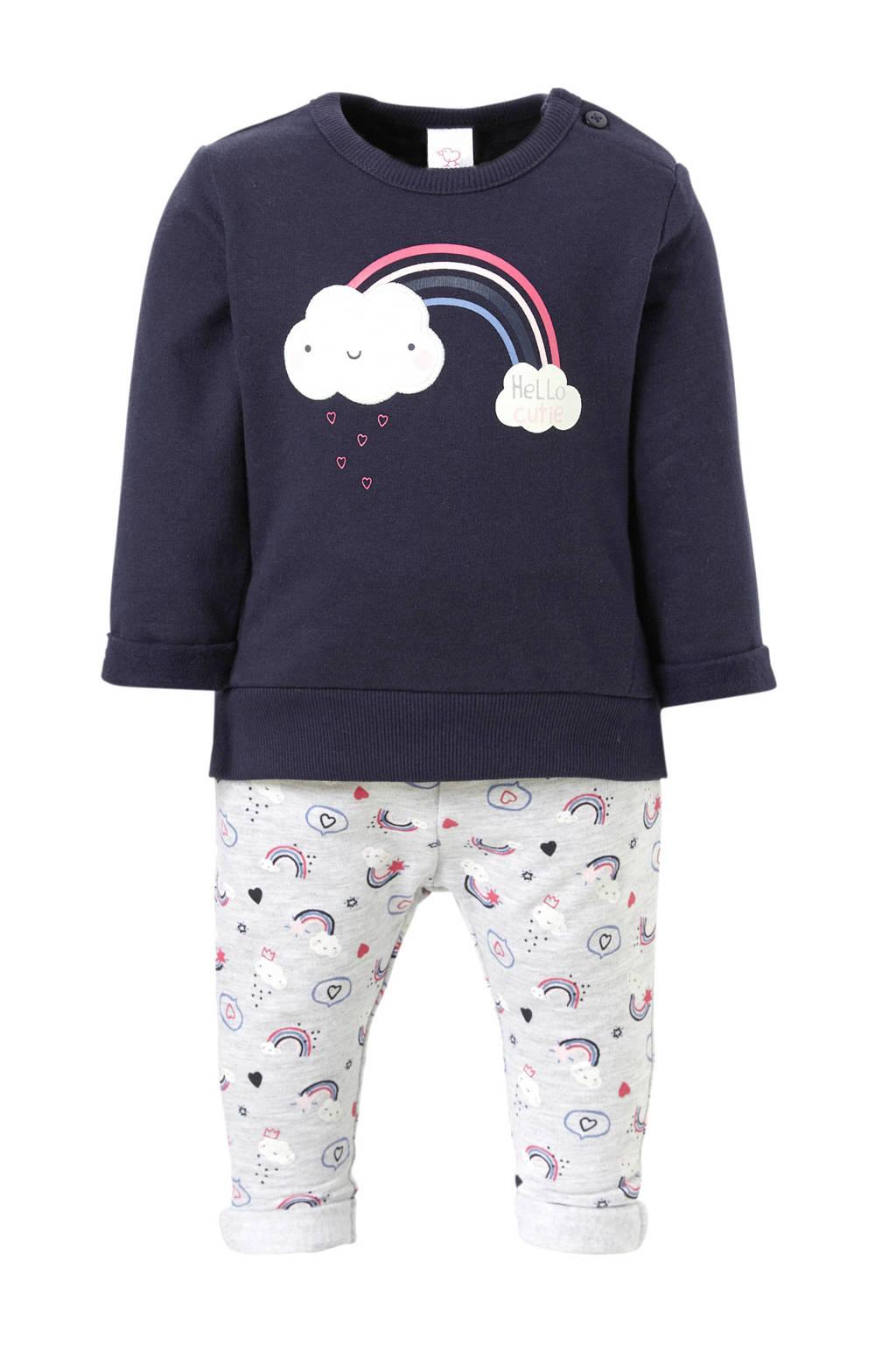 C&A Baby Club sweater + sweatpants met printopdruk marine, Marine