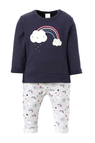 Baby Club sweater + sweatpants met printopdruk marine