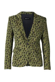 blazer met panterprint groen