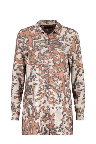 blouse met camouflageprint bruin