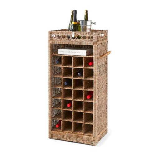 Wijnrek Rustic Rattan 28 flessen Vergrijsd riet Rivièra Maison