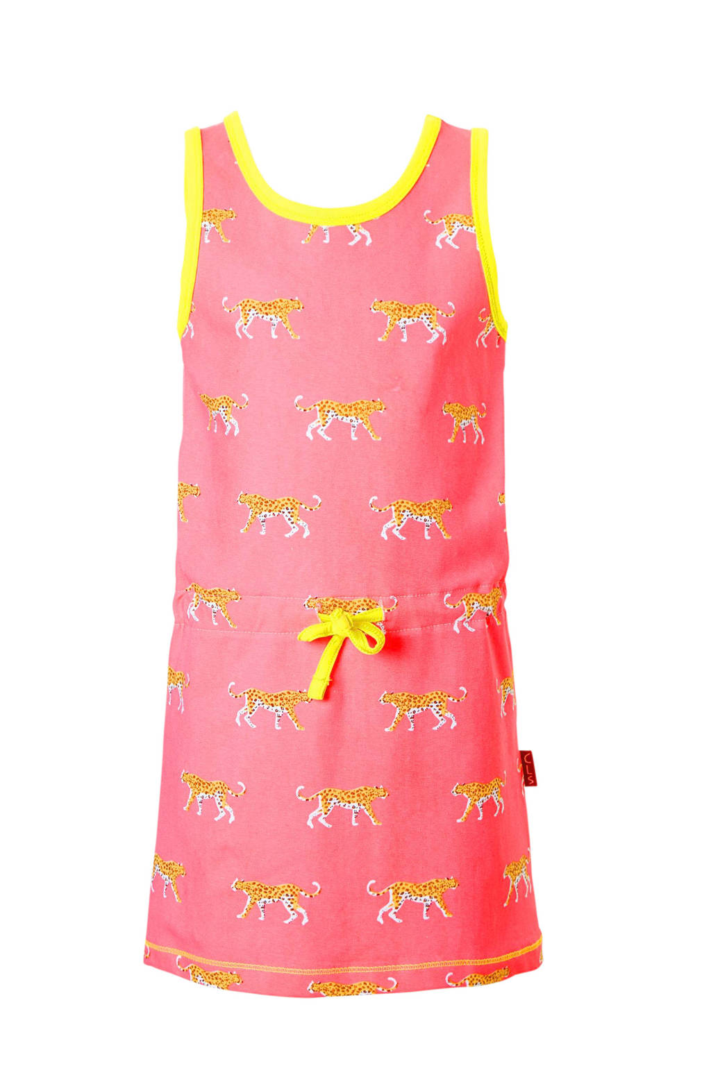 Claesen's mouwloze jurk met allover print roze, Roze/geel