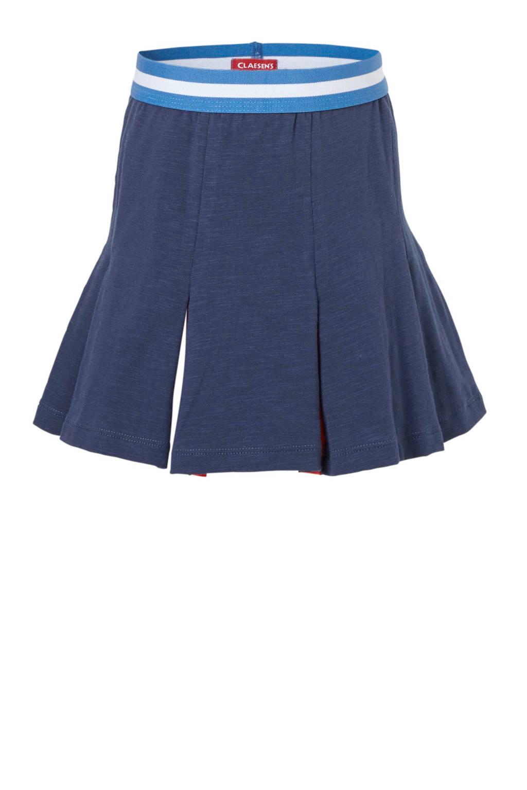 Claesen's plooirok donkerblauw, Donkerblauw/wit/blauw