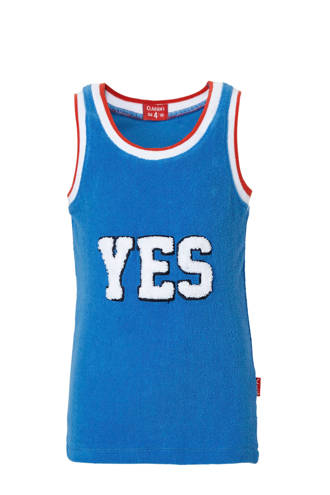 mouwloos T-shirt met print blauw