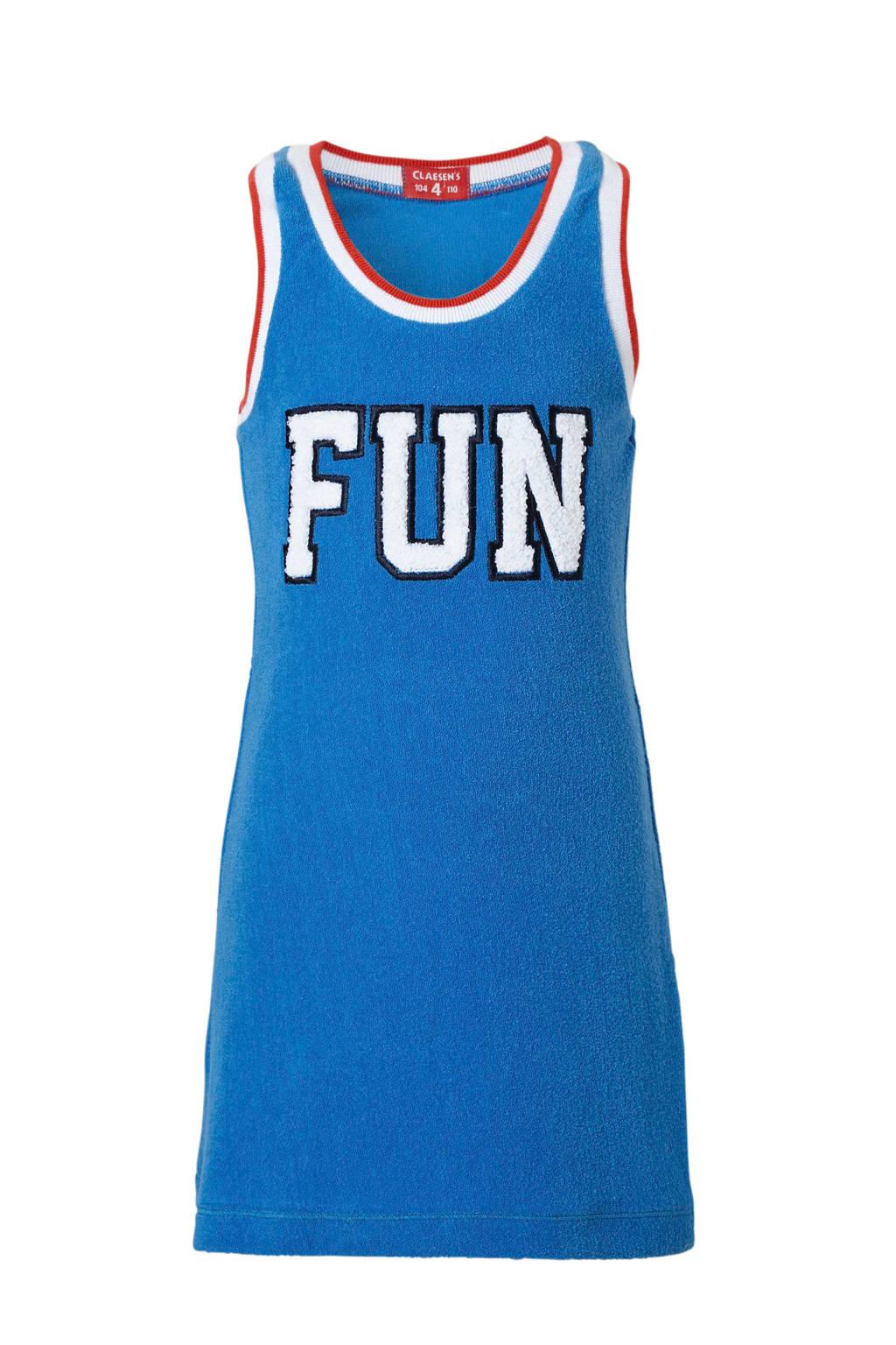 Claesen's mouwloze jurk met tekst blauw, Blauw/wit/rood