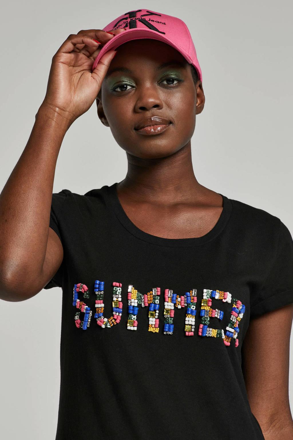 whkmp's beachwave katoenen T-shirt met kralen borduur, Zwart