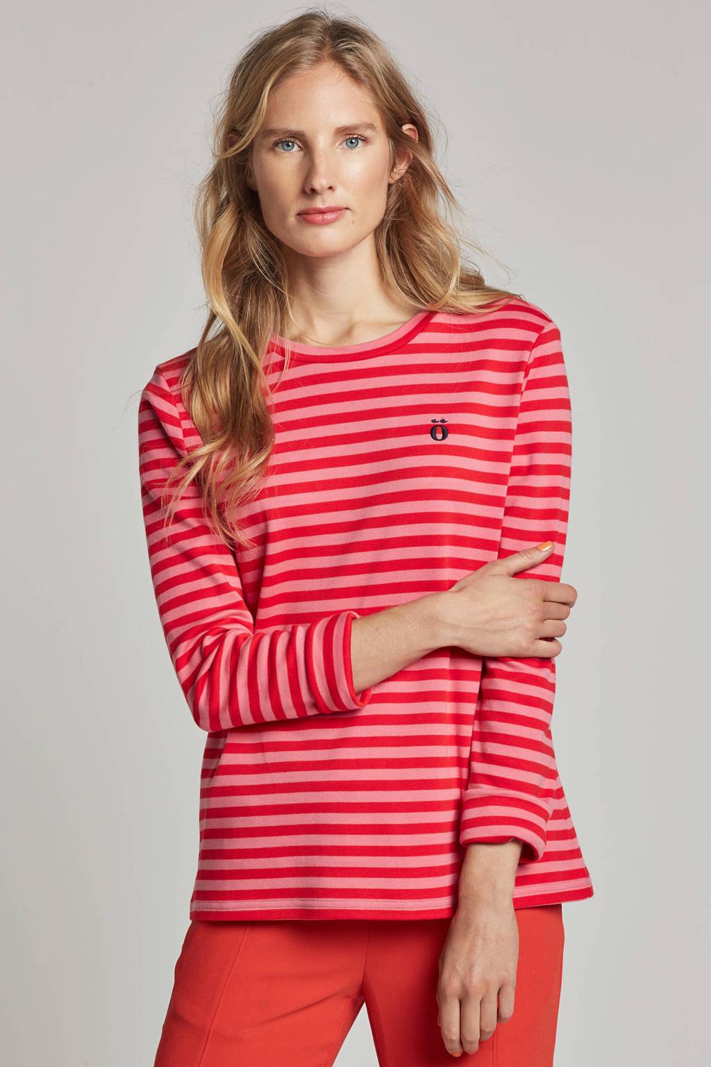 Modström Noir T-shirt met streepdessin, Roze/rood