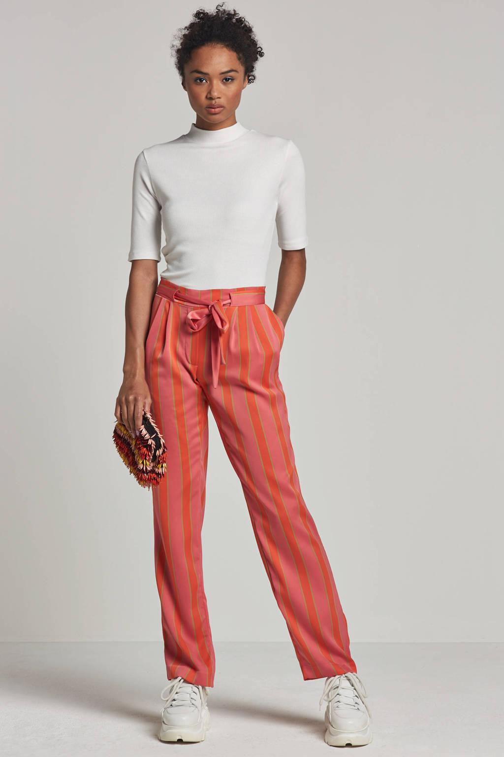 Modström Nadine straight fit broek met streepdessin, Roze/rood