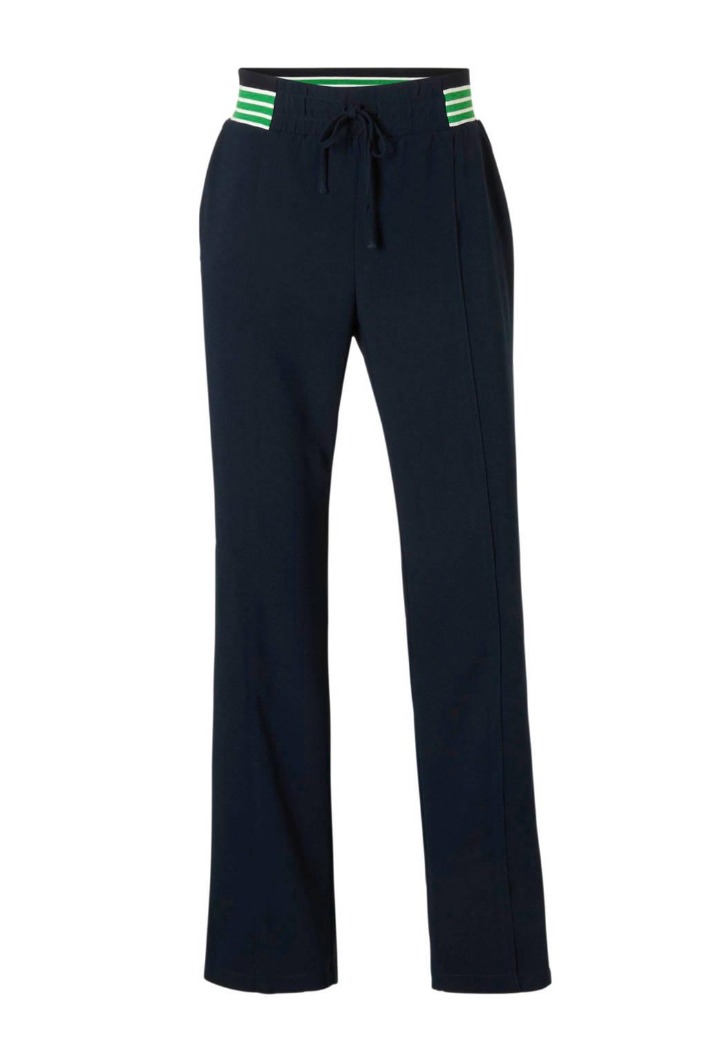 Modström broek met strepen, Donkerblauw/groen/wit