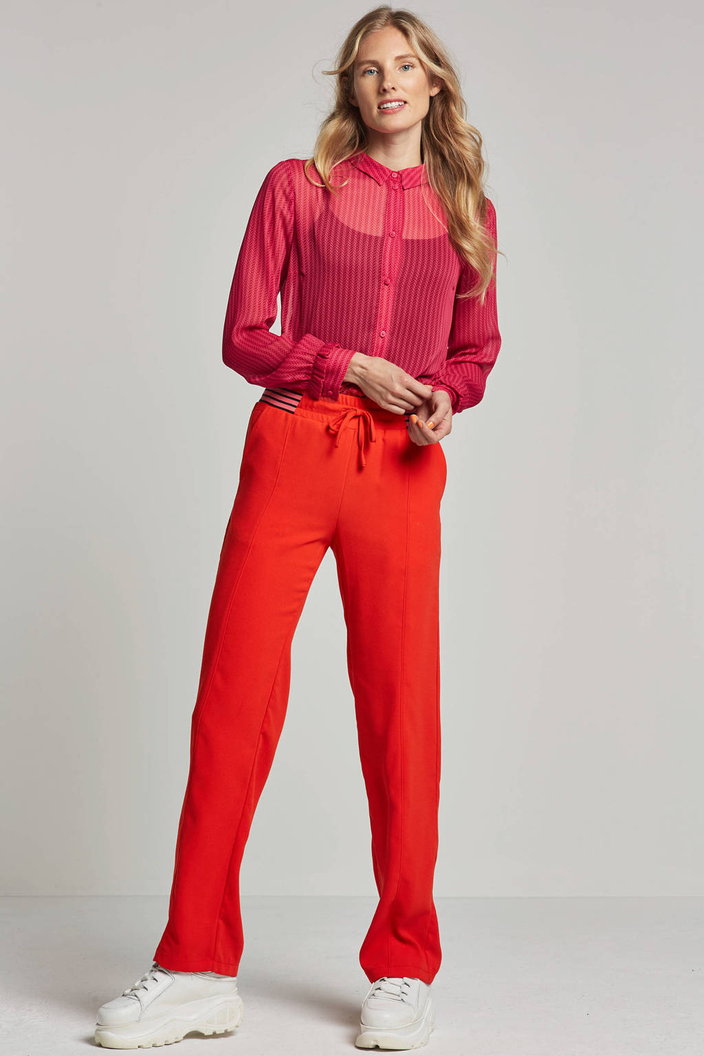 Modström Mali blouse met all over print, Roze/rood