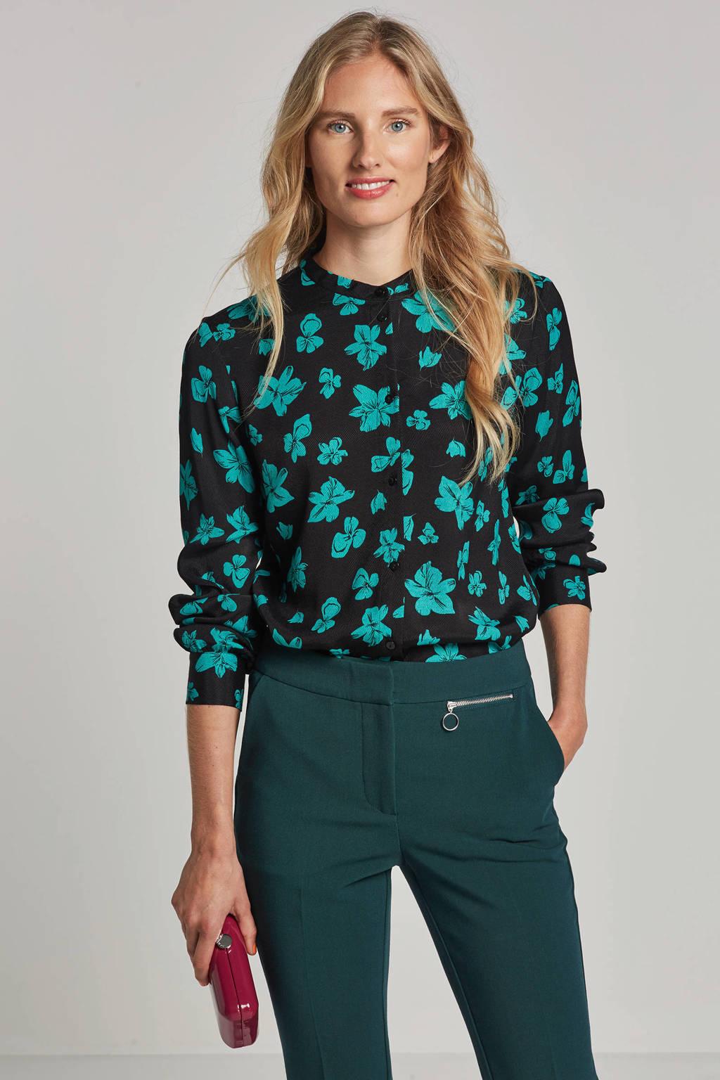 Modström Mandy blouse met bloemenprint, Zwart/blauw