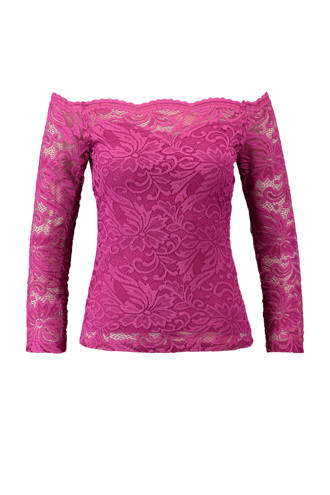kanten off shoulder top roze