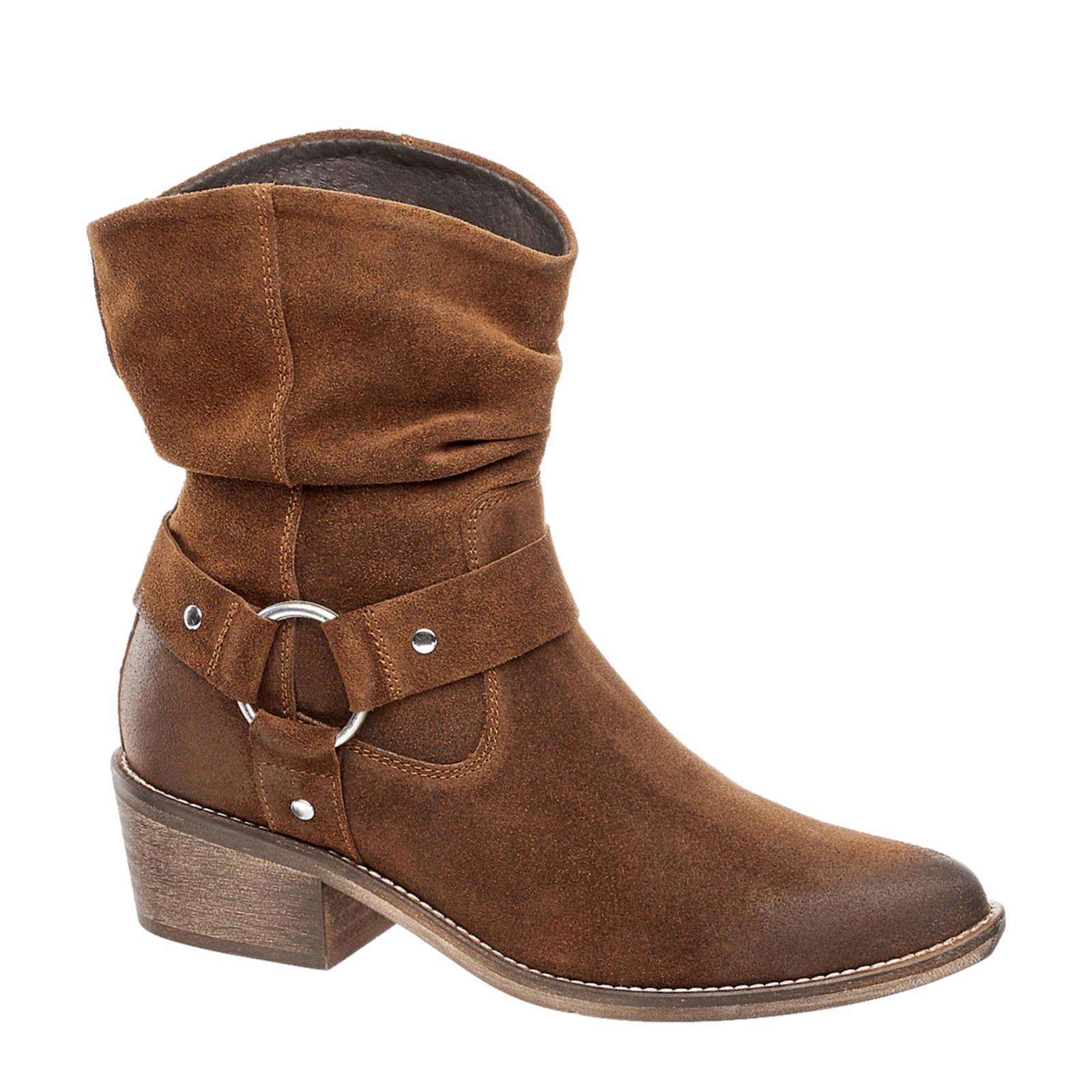 vanHaren 5th Avenue suède cowboy laarzen bruin | wehkamp