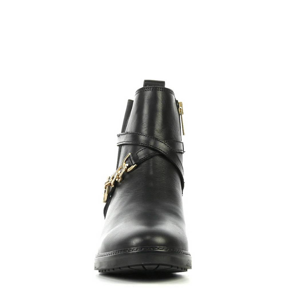 Tommy Hilfiger Chain Boot leren enkellaarzen zwart, Zwart