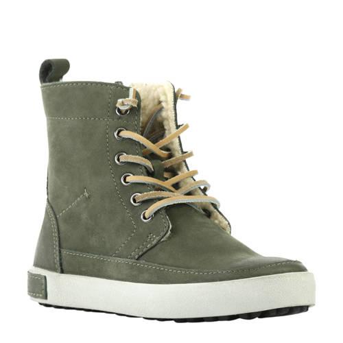 Blackstone hoge leren sneakers groen