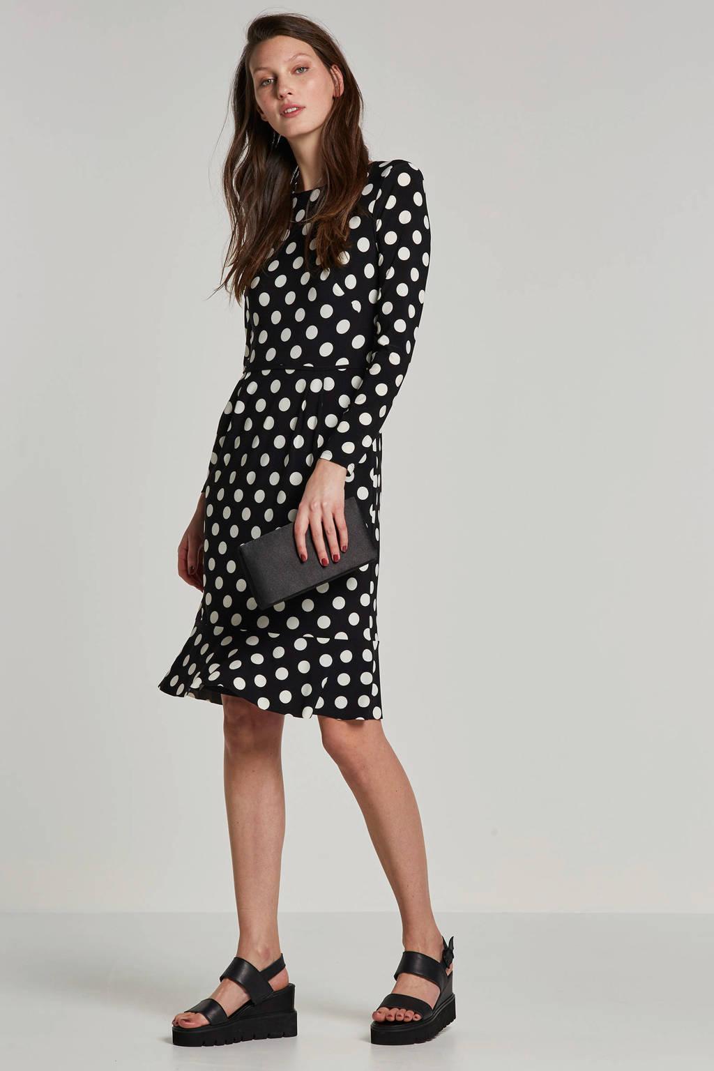 Lauren Ralph Lauren jurk Hennie met stippenprint, Zwart/wit