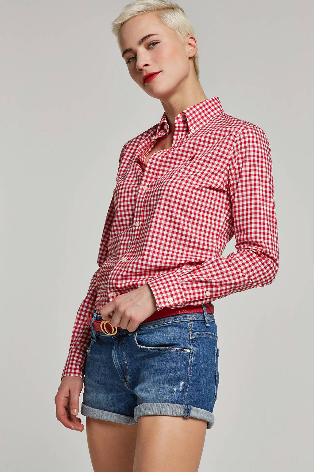 POLO Ralph Lauren blouse met ruitprint rood, Rood/wit
