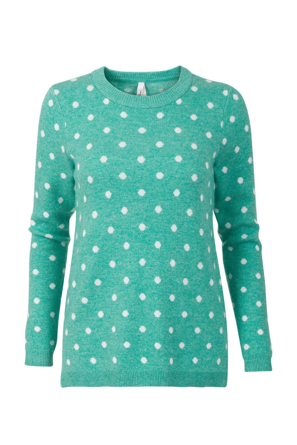 Miss Etam Regulier trui met stippen groen, Groen