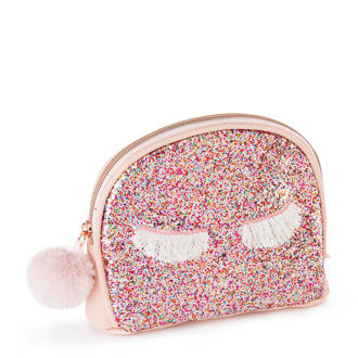 make-up tas met glitters roze