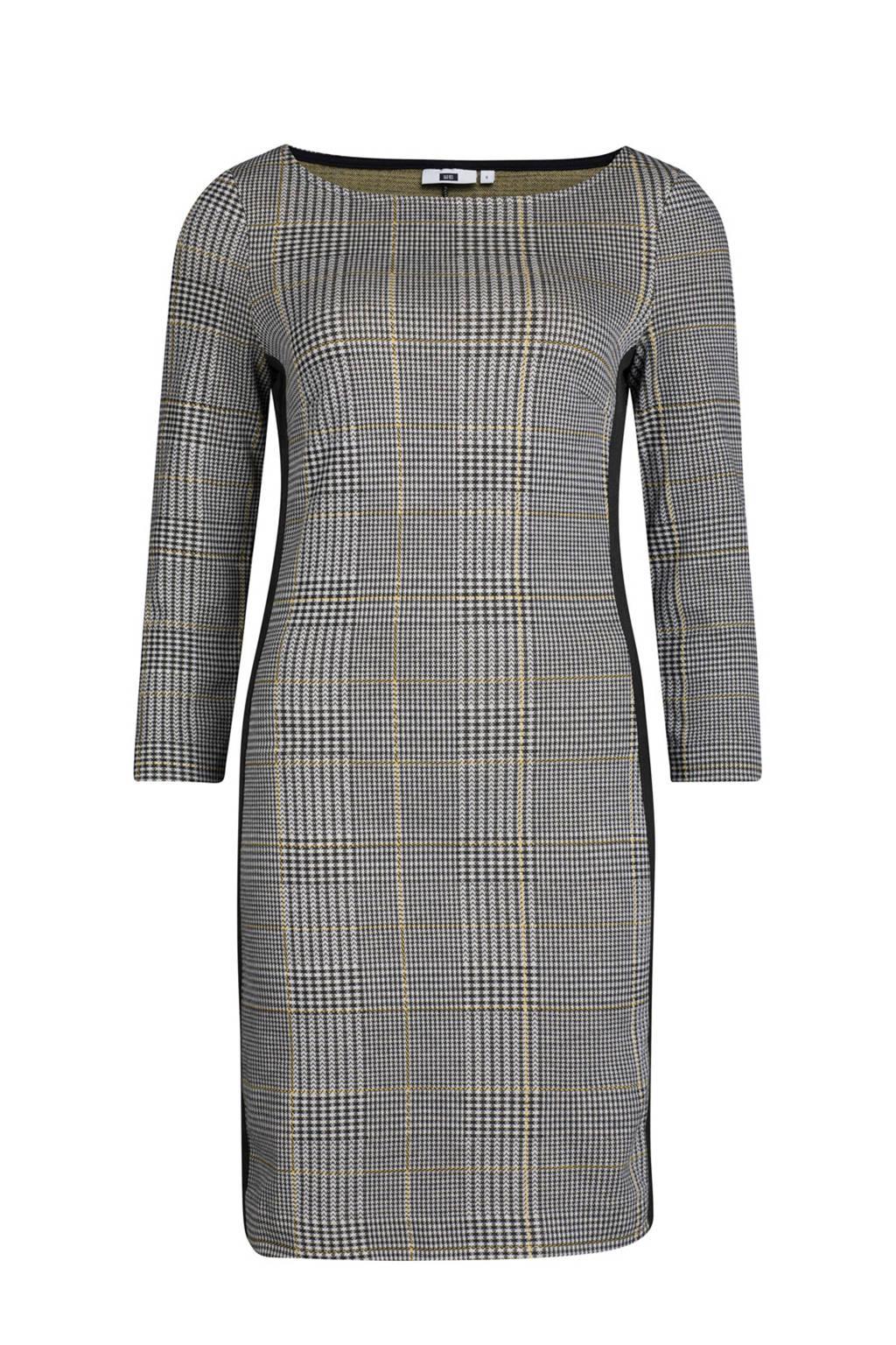 WE Fashion geruite jurk met zijstreep grijs, Grijs/zwart/wit