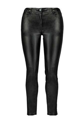 broek met coating zwart