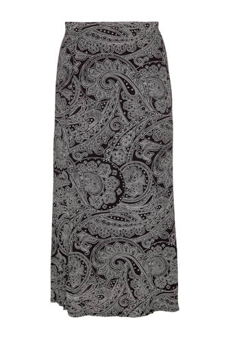 maxi rok met paisley print zwart