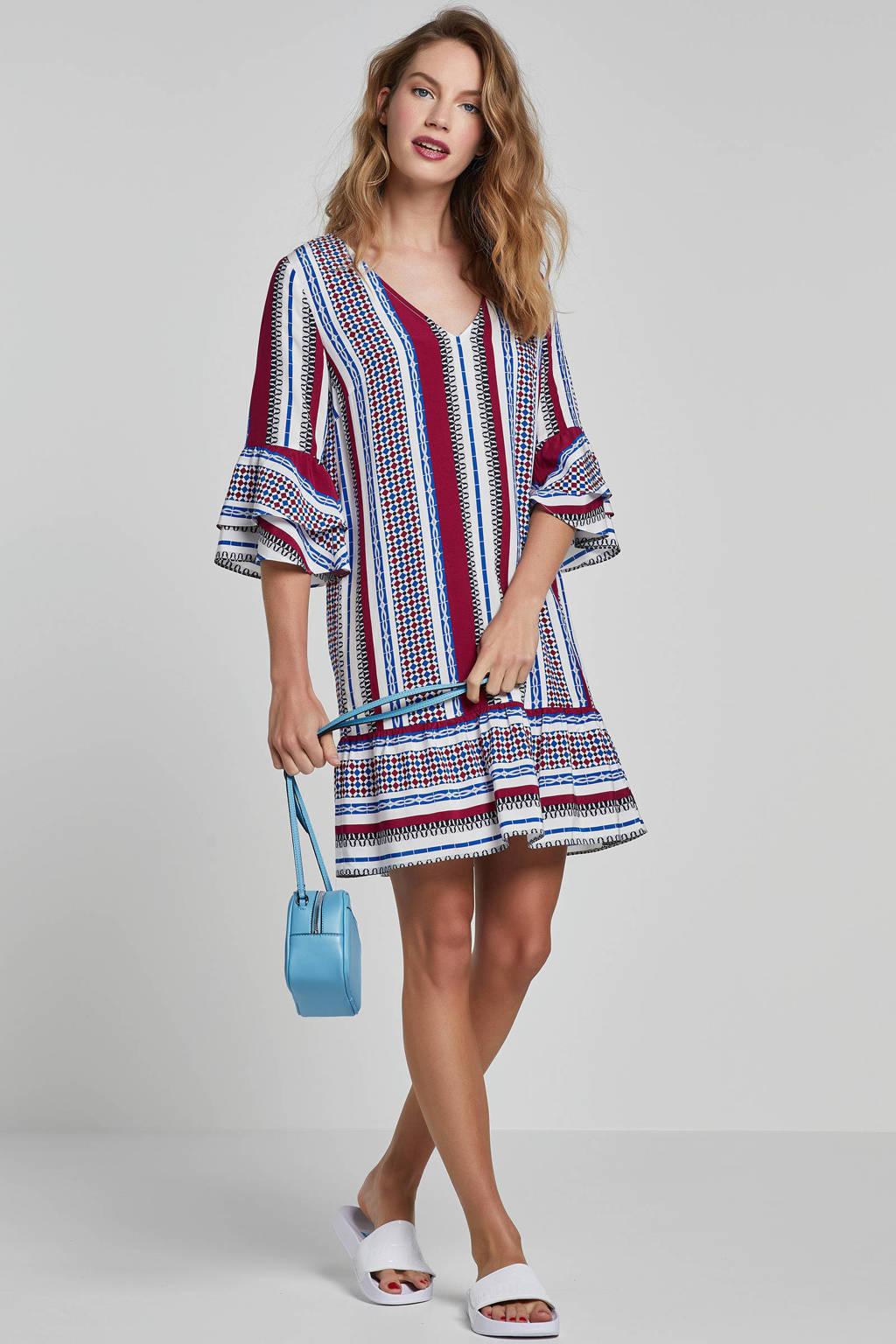 MARIA TAILOR jurk met all over print, Blauw/rood/wit