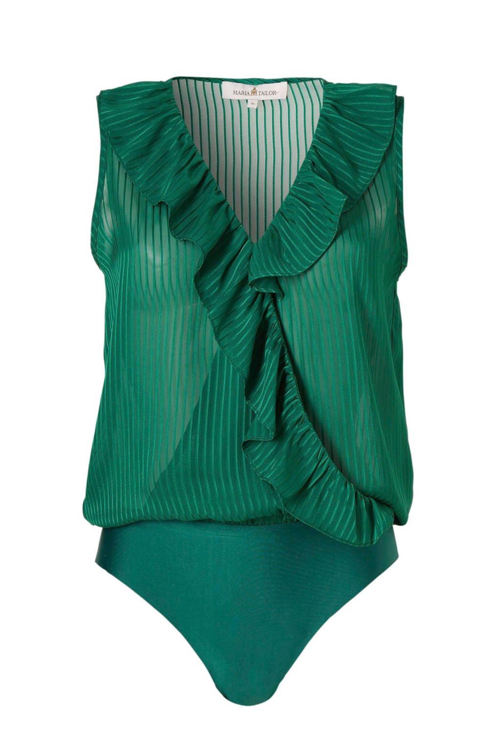 MARIA TAILOR body met volant groen, Groen