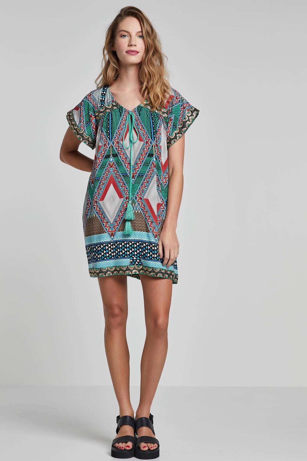 MARIA TAILOR jurk met all over print, Groen/bruin/rood/wit