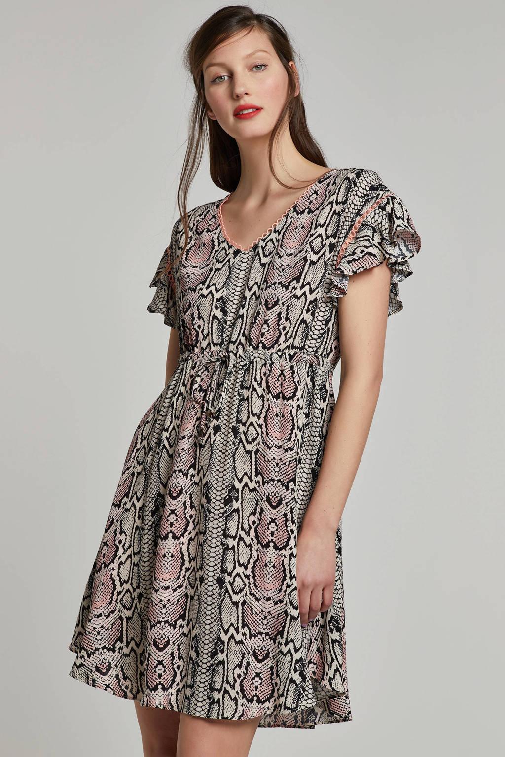 MARIA TAILOR jurk met slangenprint, Bruin/roze