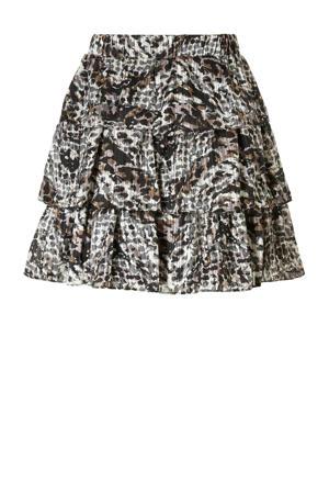rok met panterprint bruin/zwart/wit