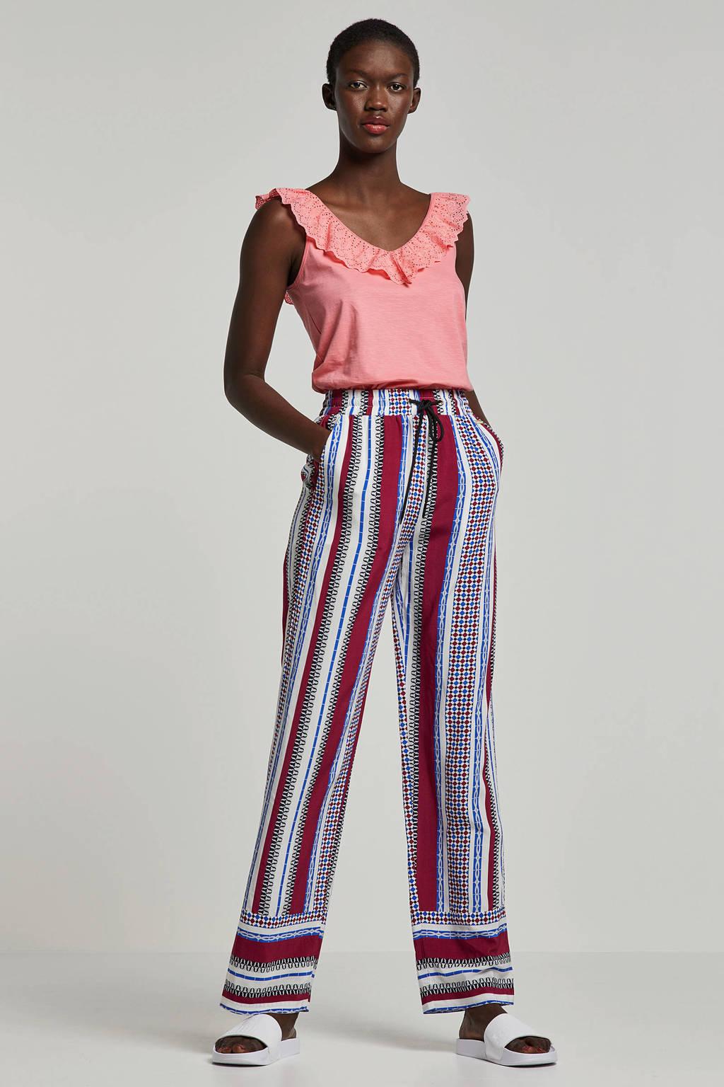 MARIA TAILOR loose fit broek met all over print, Blauw/rood/wit