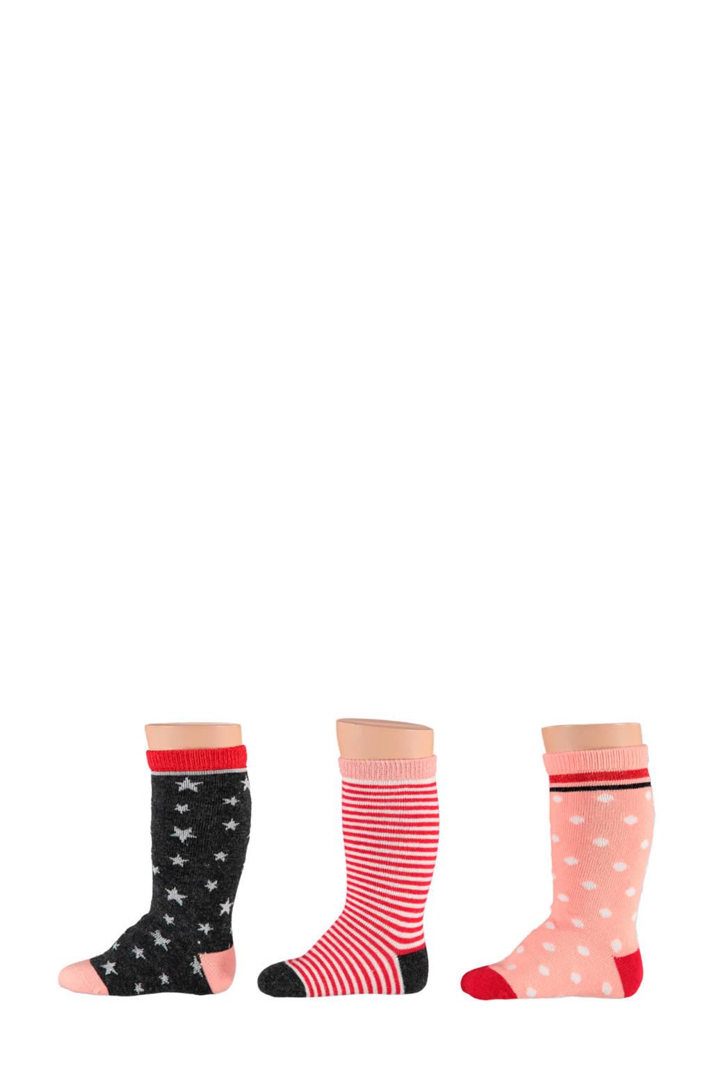 Apollo baby kniekousen ( 3 paar), Rood/zwart/wit