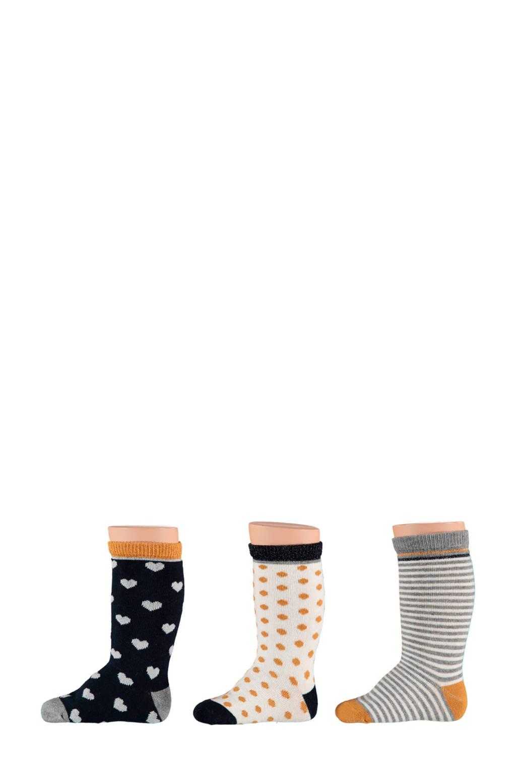 Apollo baby sokken (set van 3), Oker/zwart/wit