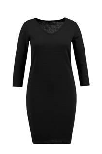 MS Mode ribgebreide jurk zwart